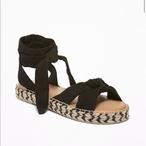 Black lace up espadrilles